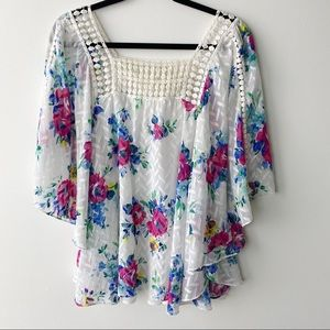 Anthropologie Meadow Rue floral blouse boho